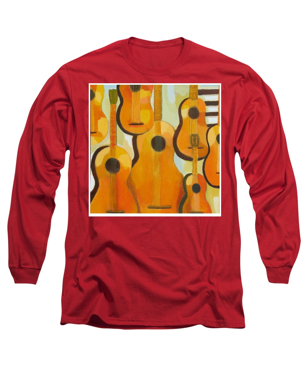 Abstract Long Sleeve T-Shirt featuring the painting Guitars by Habib Ayat