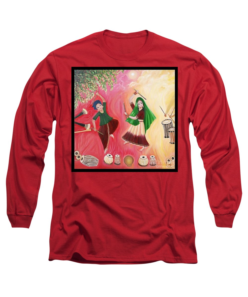 Figurative Long Sleeve T-Shirt featuring the painting Happiness by Usha Rai