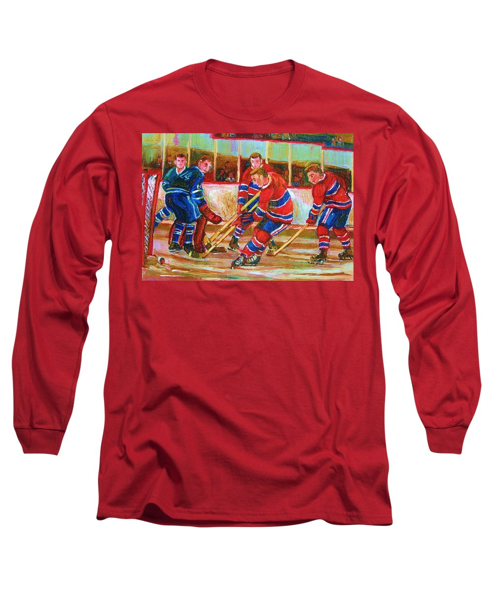 Hockey Long Sleeve T-Shirt featuring the painting He Shoots  He Scores by Carole Spandau
