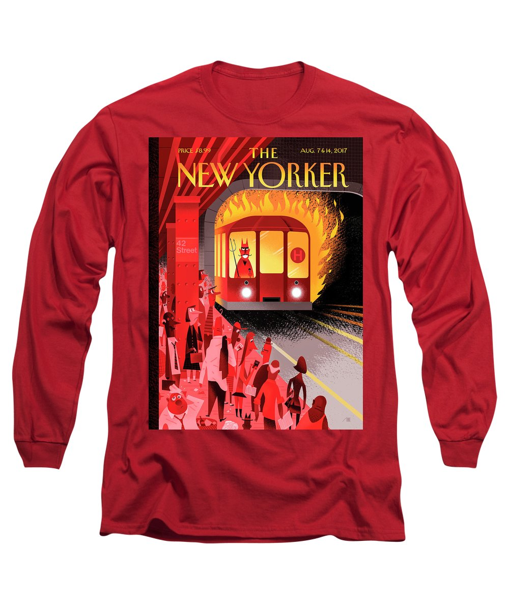 Hell Train Long Sleeve T-Shirt featuring the drawing Hell Train by Bob Staake