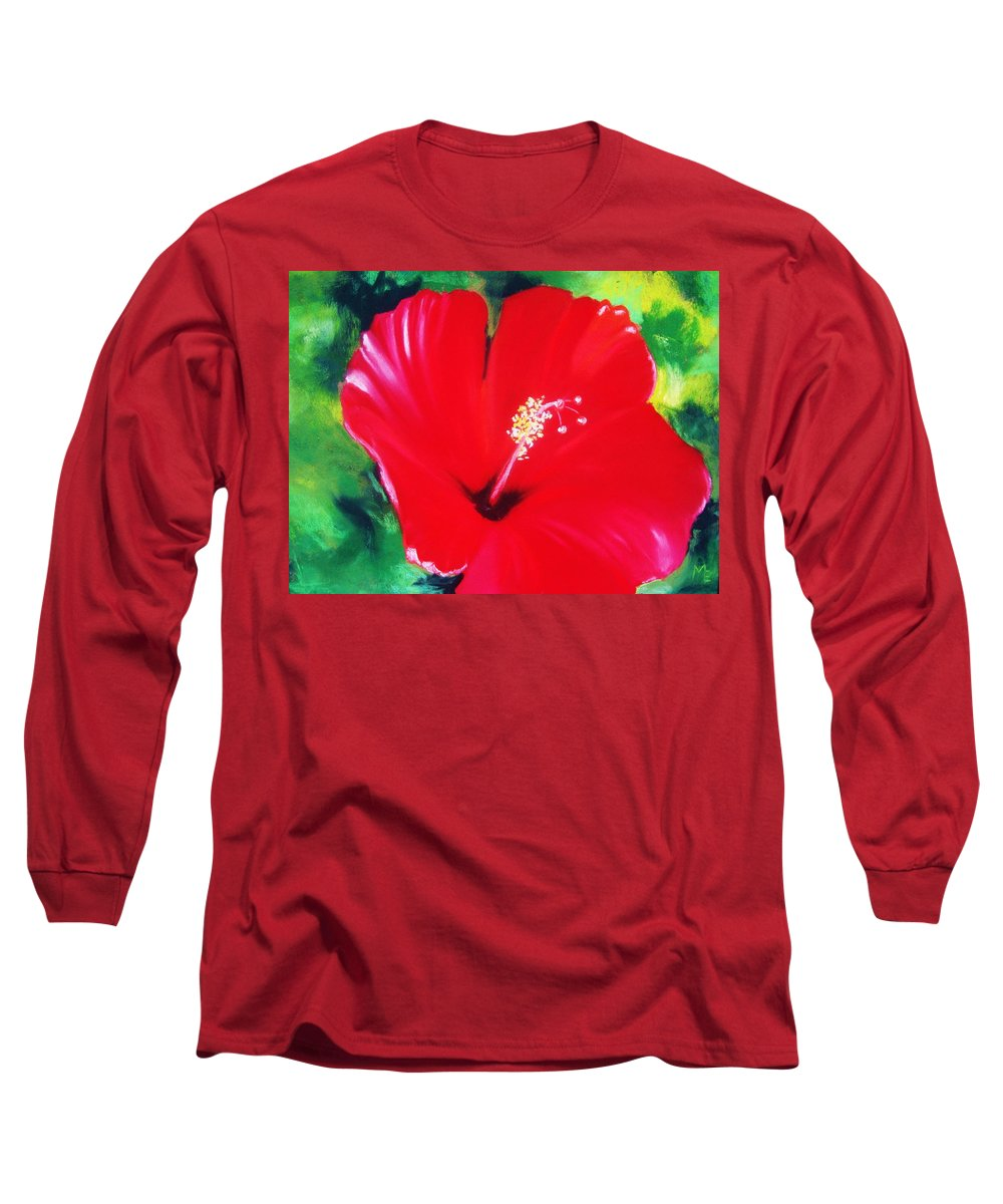 Long Sleeve T-Shirt featuring the pastel Hibiscus 2 by Melinda Etzold