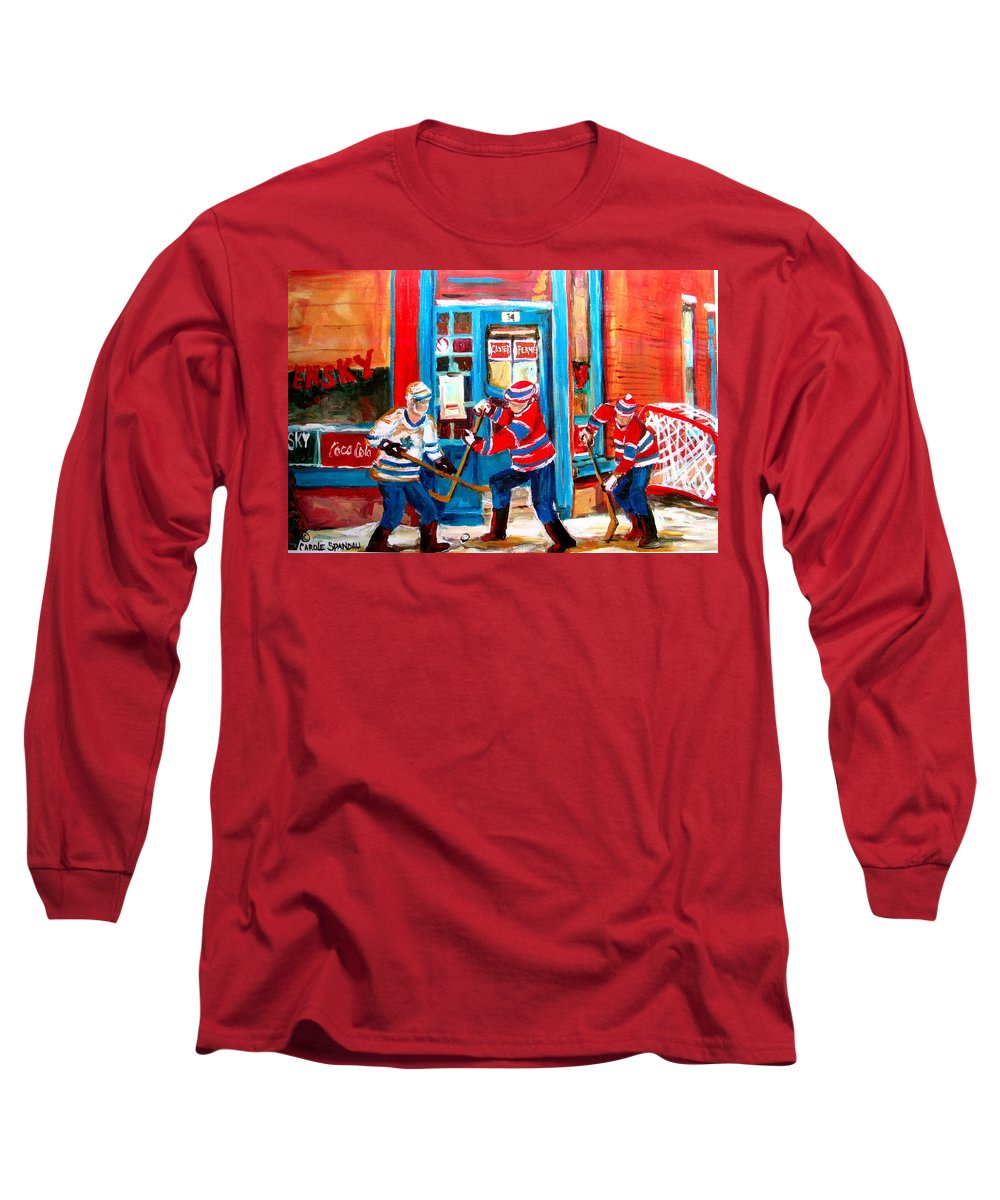 Wilenskys Long Sleeve T-Shirt featuring the painting Hockey Sticks In Action by Carole Spandau