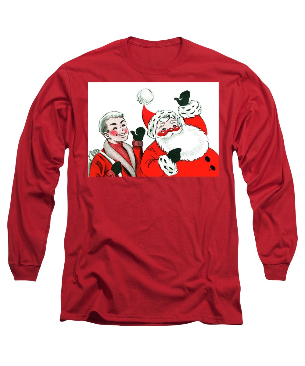 Paper Boy Long Sleeve T-Shirt featuring the mixed media Holiday Greetings by Long Shot