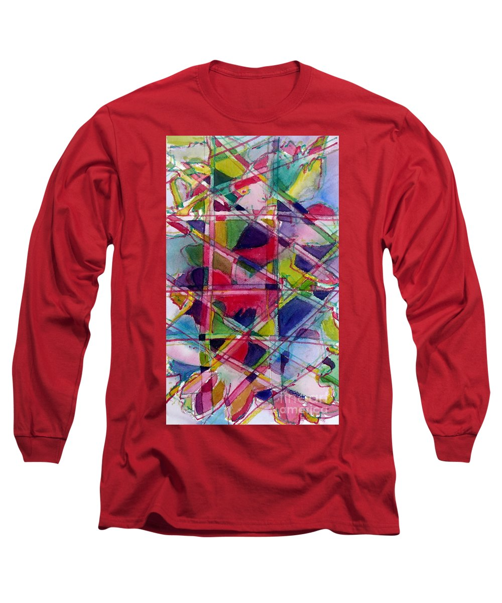Abstract Long Sleeve T-Shirt featuring the painting Holiday Rush by Jan Bennicoff