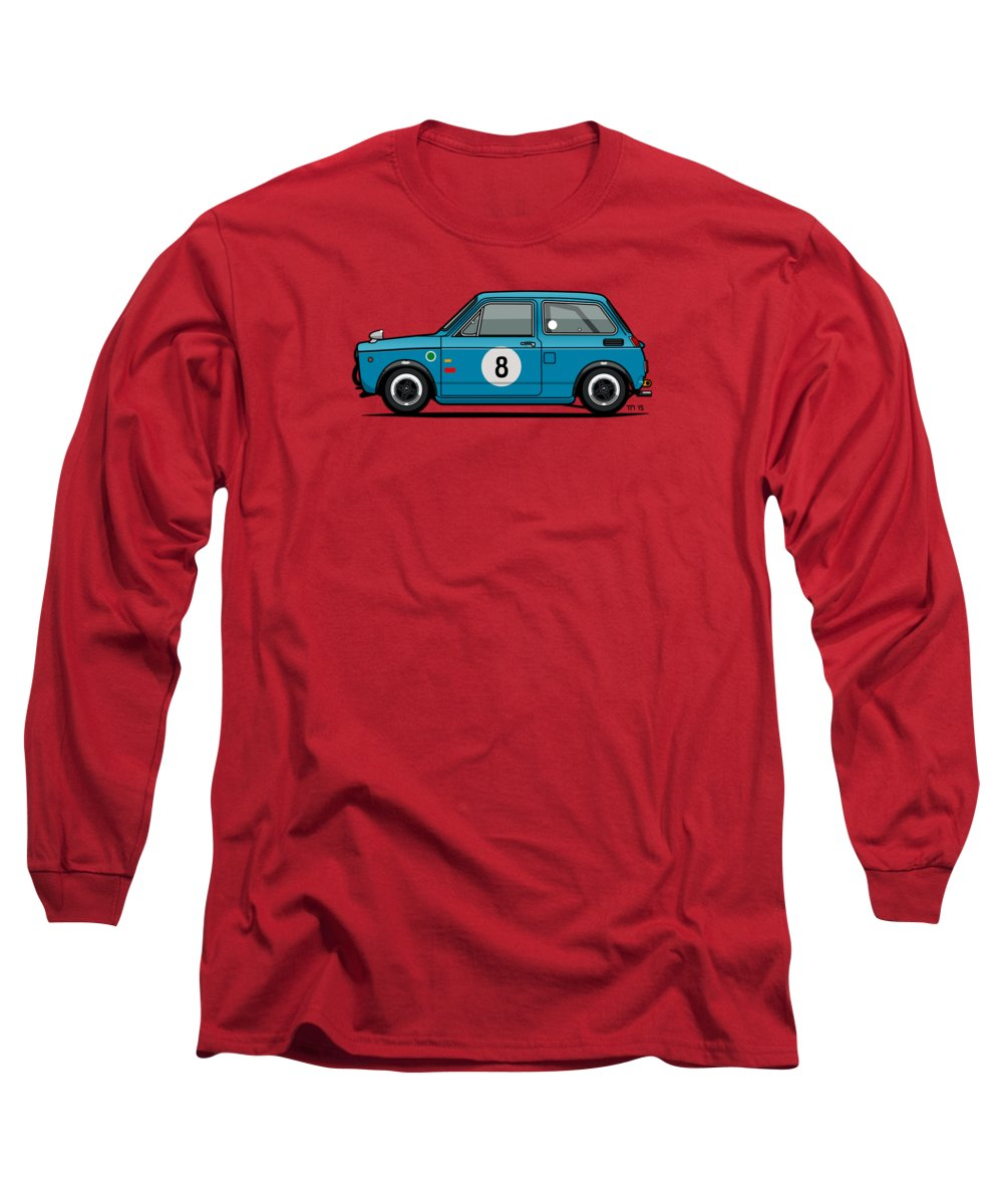 Car Long Sleeve T-Shirt featuring the mixed media Honda N600 Blue Kei Race Car by Monkey Crisis On Mars
