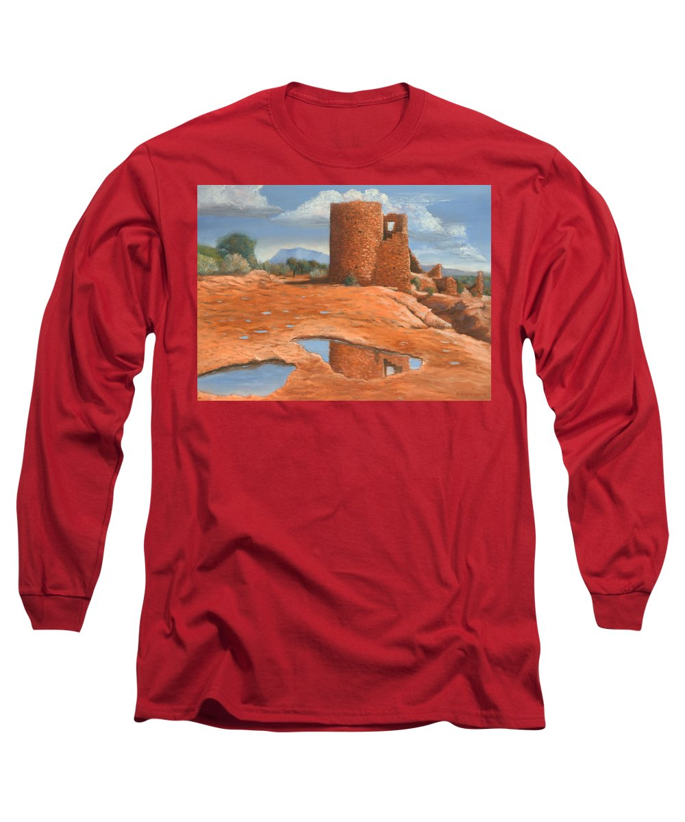 Anasazi Long Sleeve T-Shirt featuring the painting Hovenweep Reflection by Jerry McElroy