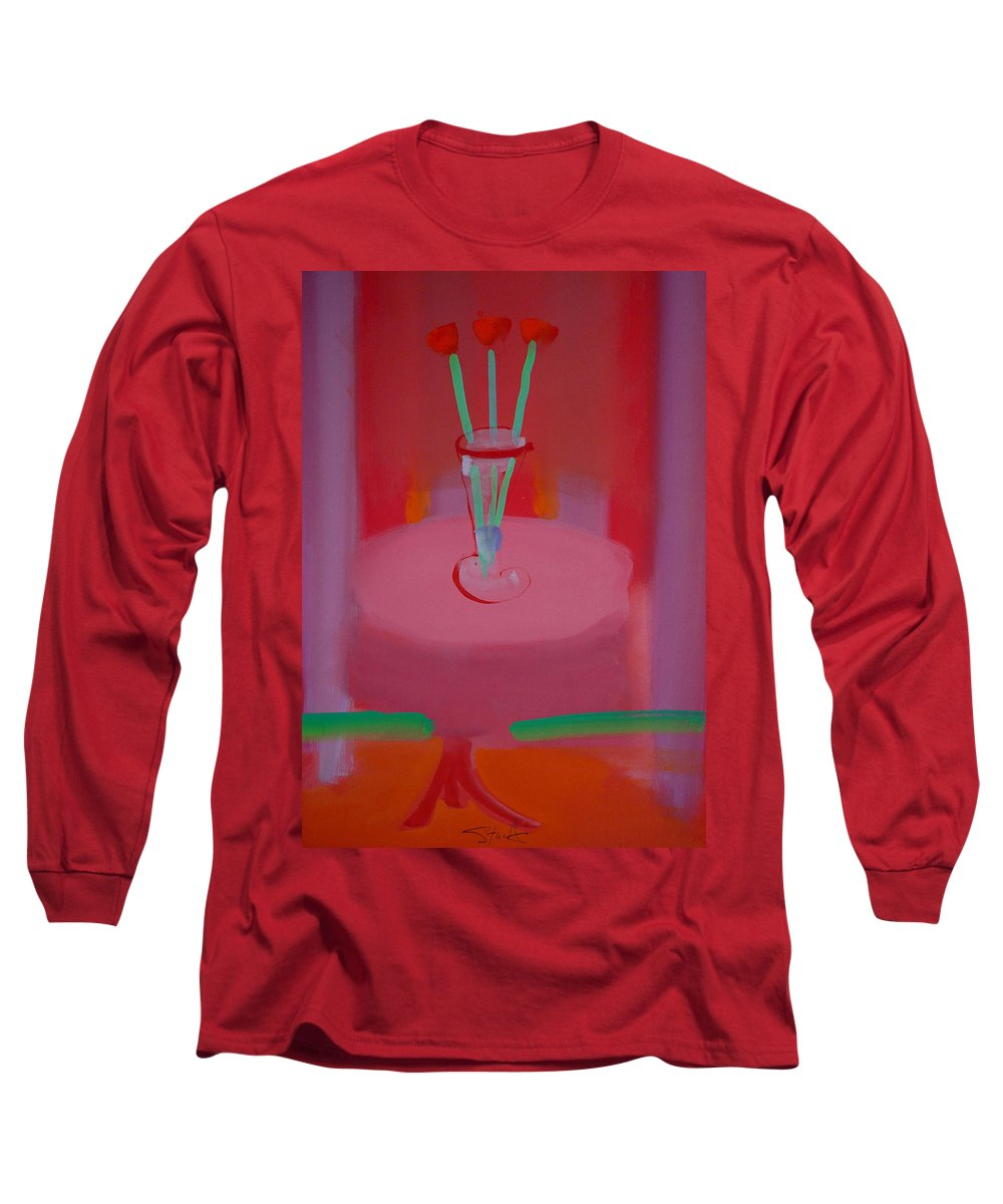 Vase Long Sleeve T-Shirt featuring the painting In The Red Room by Charles Stuart