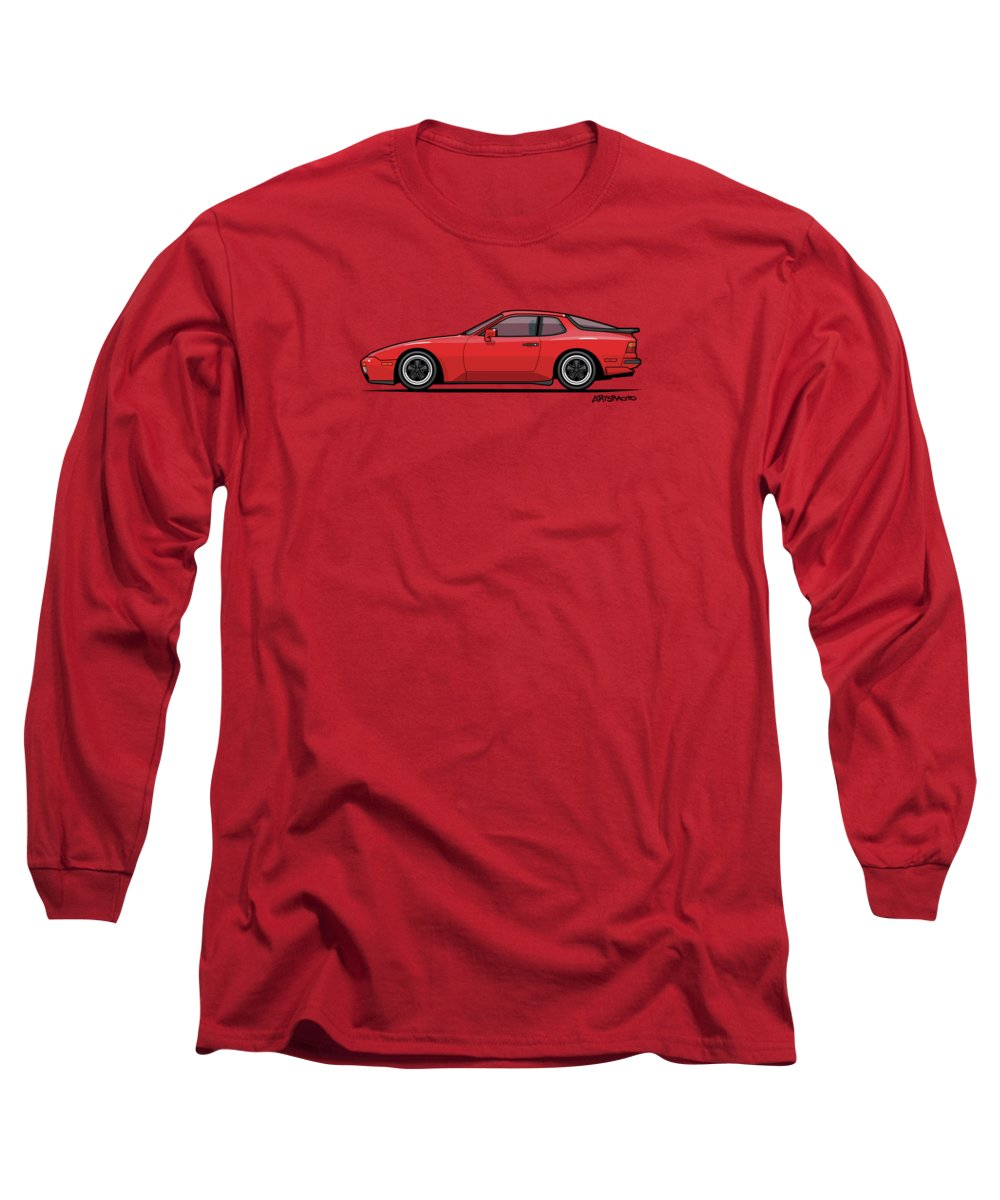 Porsche 944 Turbo Long Sleeve T-Shirt featuring the digital art India Red 1986 P 944 951 Turbo by Monkey Crisis On Mars
