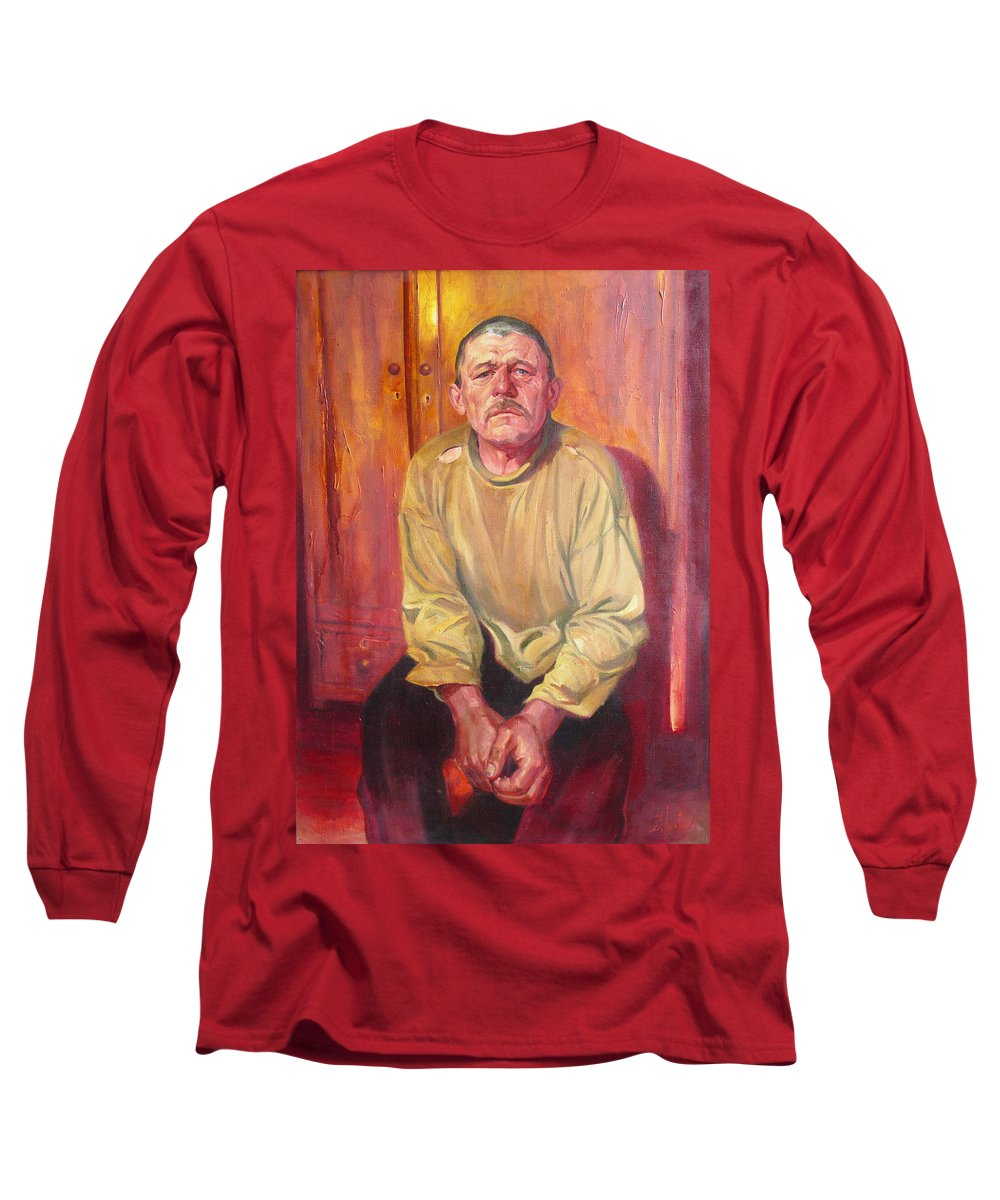 Oil Long Sleeve T-Shirt featuring the painting Inhabitant Of Chernobyl Zone by Sergey Ignatenko