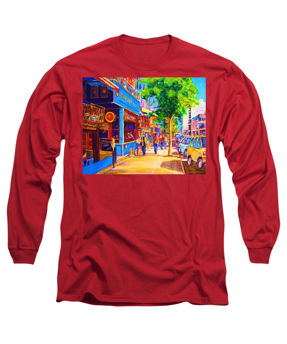 Irish Pub On Crescent Street Montreal Street Scenes Long Sleeve T-Shirt featuring the painting Irish Pub On Crescent Street by Carole Spandau