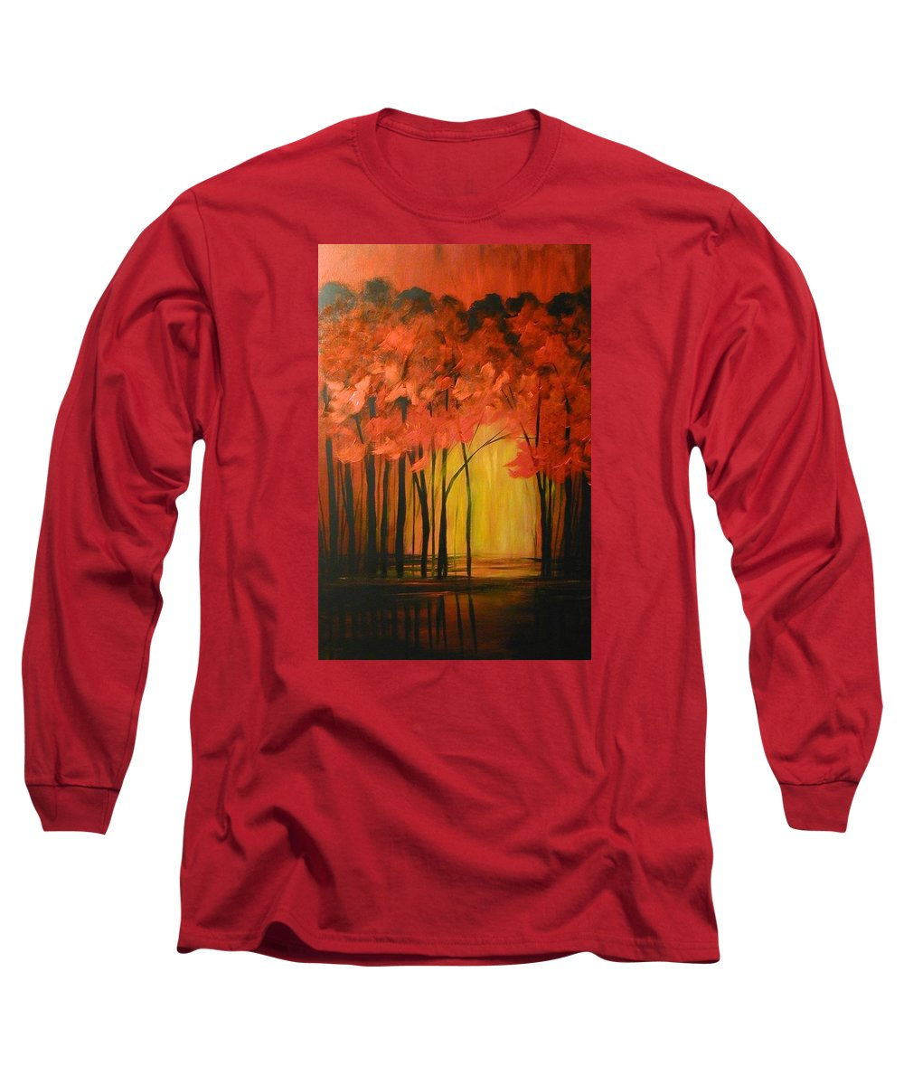 Abstract Long Sleeve T-Shirt featuring the painting Japanese Forest by Sabina Surya Naya