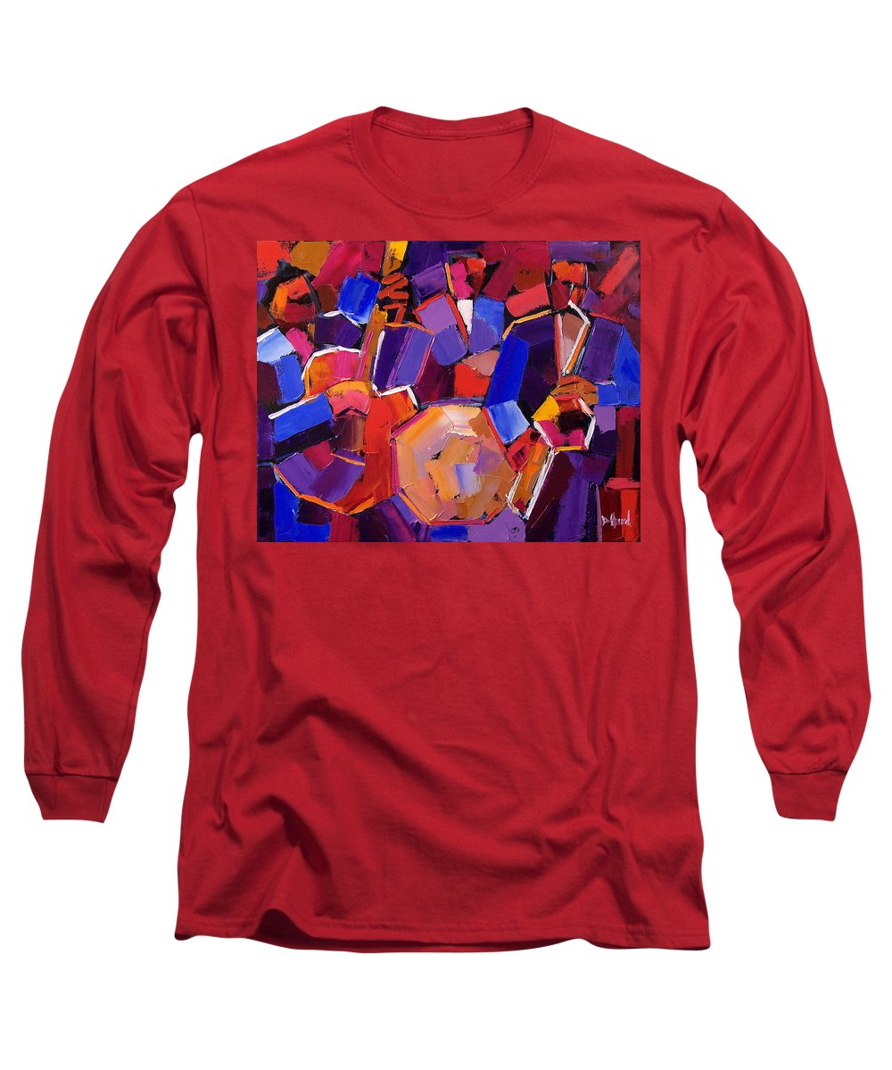 Jazz Long Sleeve T-Shirt featuring the painting Jazz Angles Two by Debra Hurd