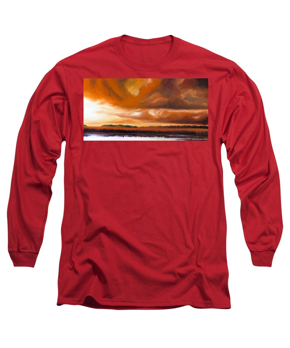 Clouds Long Sleeve T-Shirt featuring the painting Jetties On The Shore by James Christopher Hill