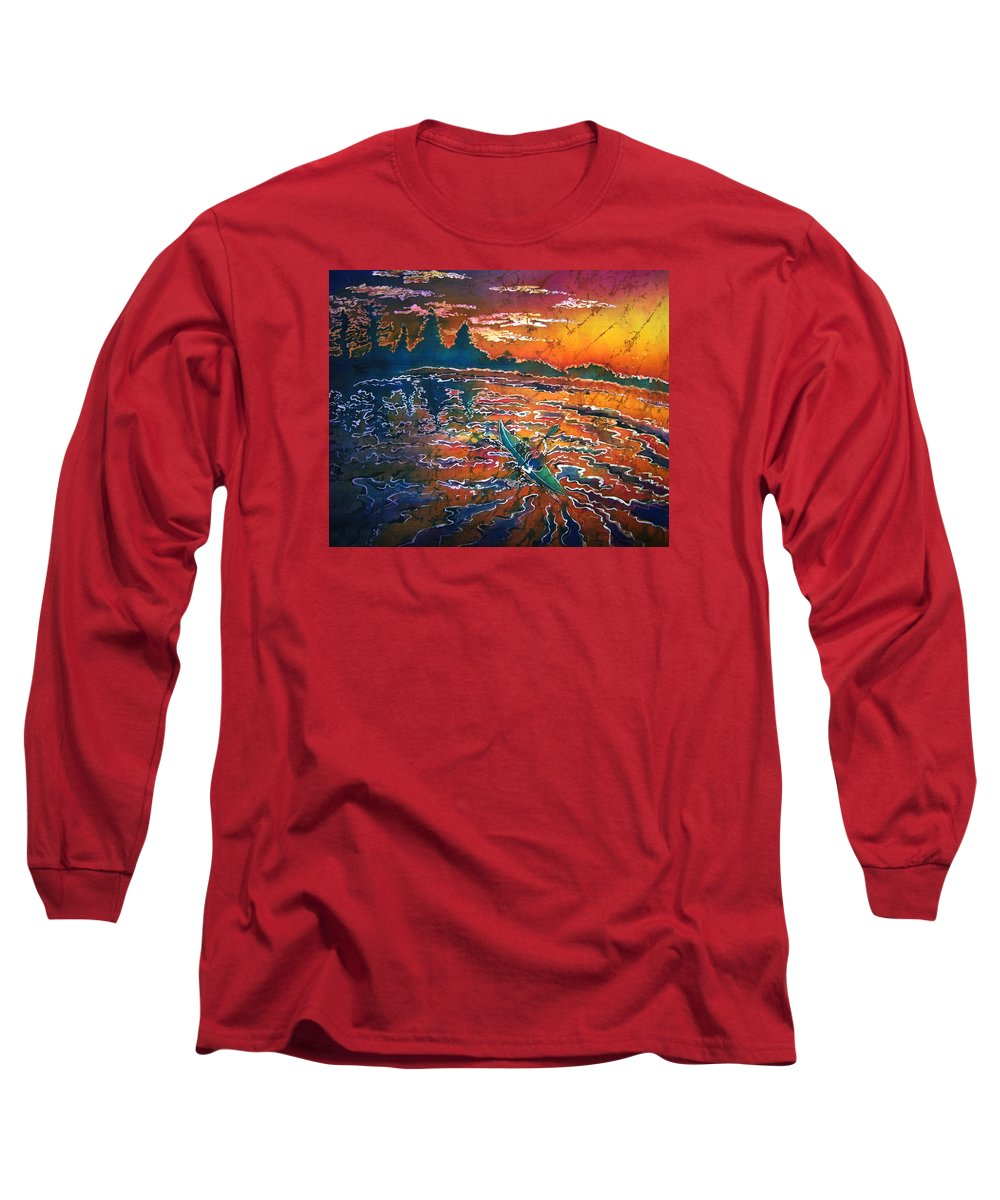 Kayak Long Sleeve T-Shirt featuring the painting Kayak Serenity by Sue Duda