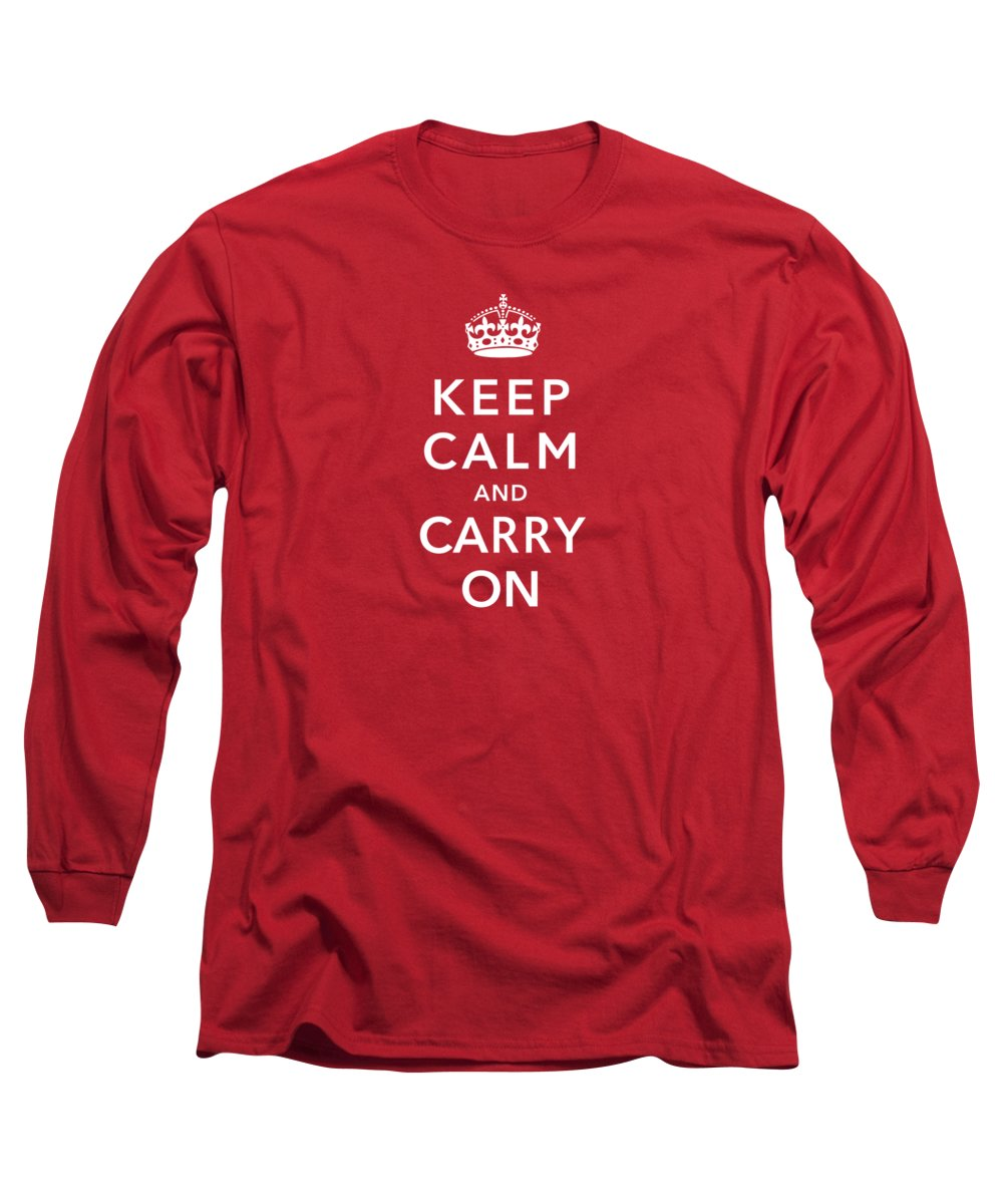 Britain Long Sleeve T-Shirt featuring the digital art Keep Calm And Carry On by War Is Hell Store