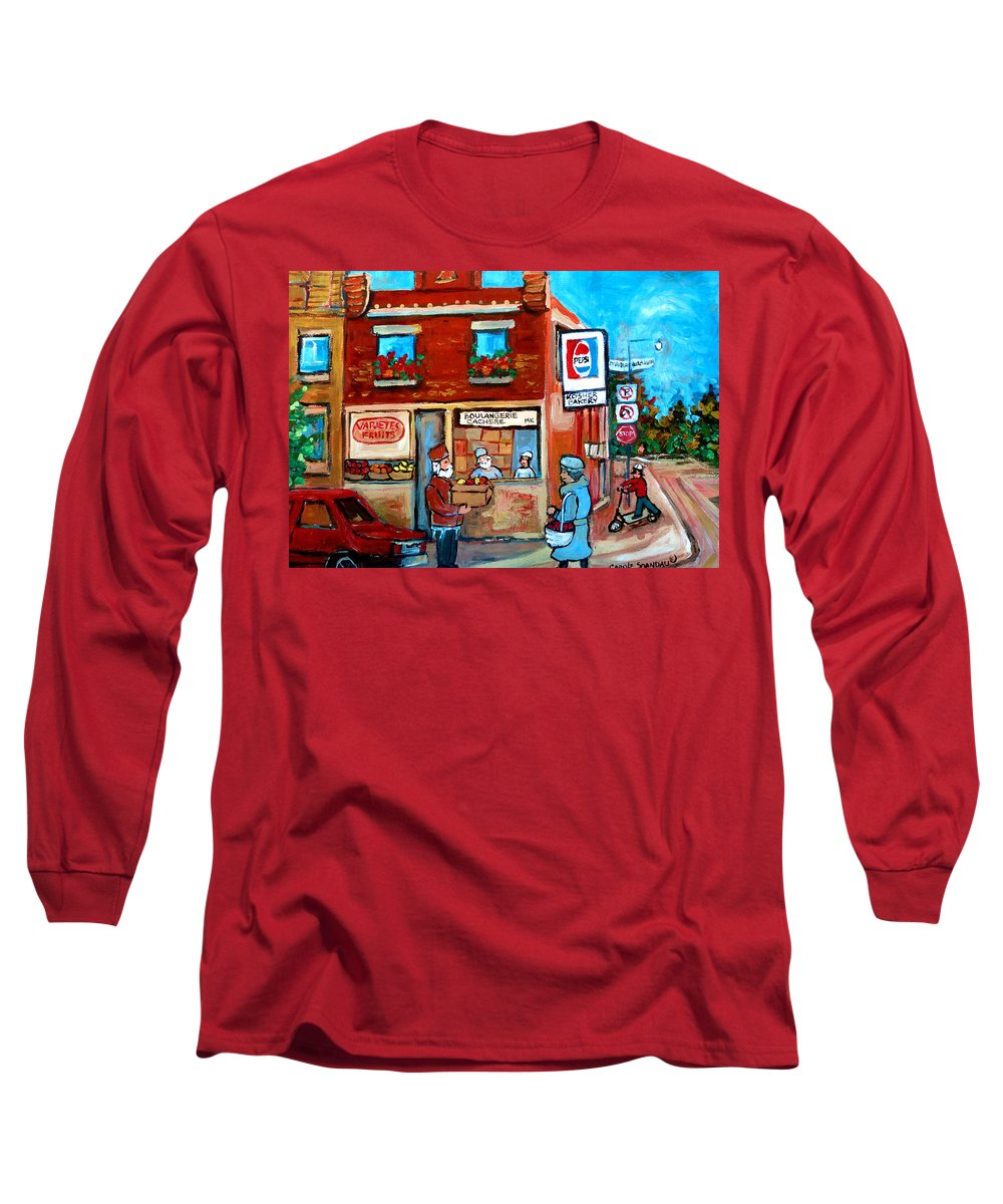 Kosher Bakery Long Sleeve T-Shirt featuring the painting Kosher Bakery On Hutchison Street by Carole Spandau