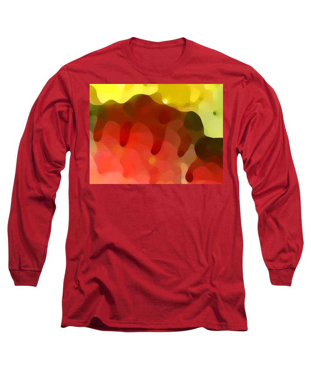 Abstract Long Sleeve T-Shirt featuring the painting Las Tunas Ridge by Amy Vangsgard