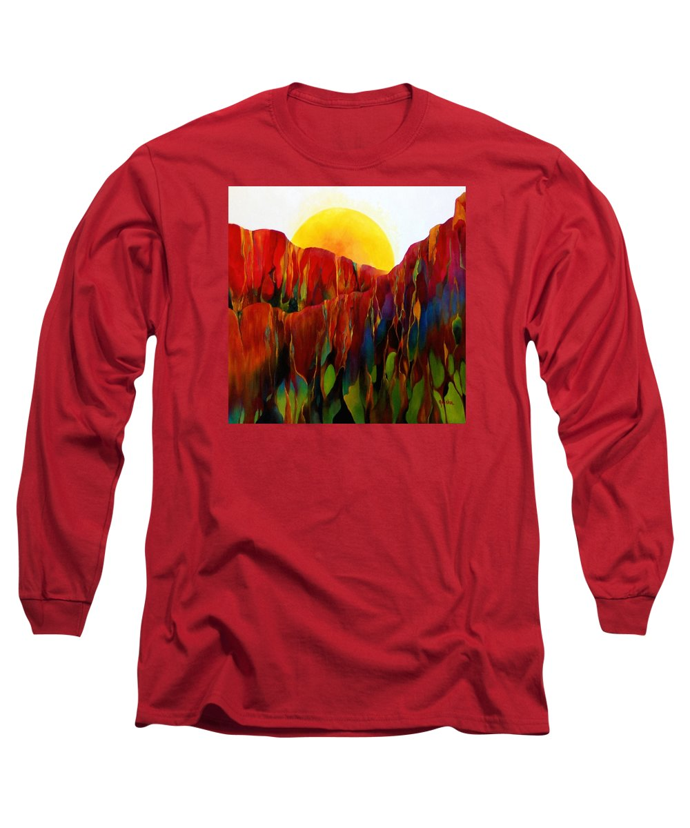 Oil Long Sleeve T-Shirt featuring the painting Living Earth by Peggy Guichu