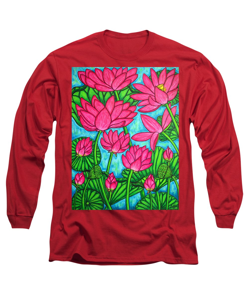 Long Sleeve T-Shirt featuring the painting Lotus Bliss by Lisa Lorenz