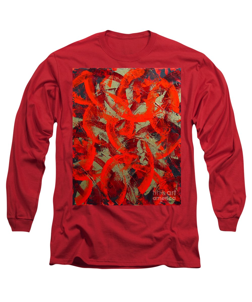 Abstract Long Sleeve T-Shirt featuring the painting Love Trails by Dean Triolo