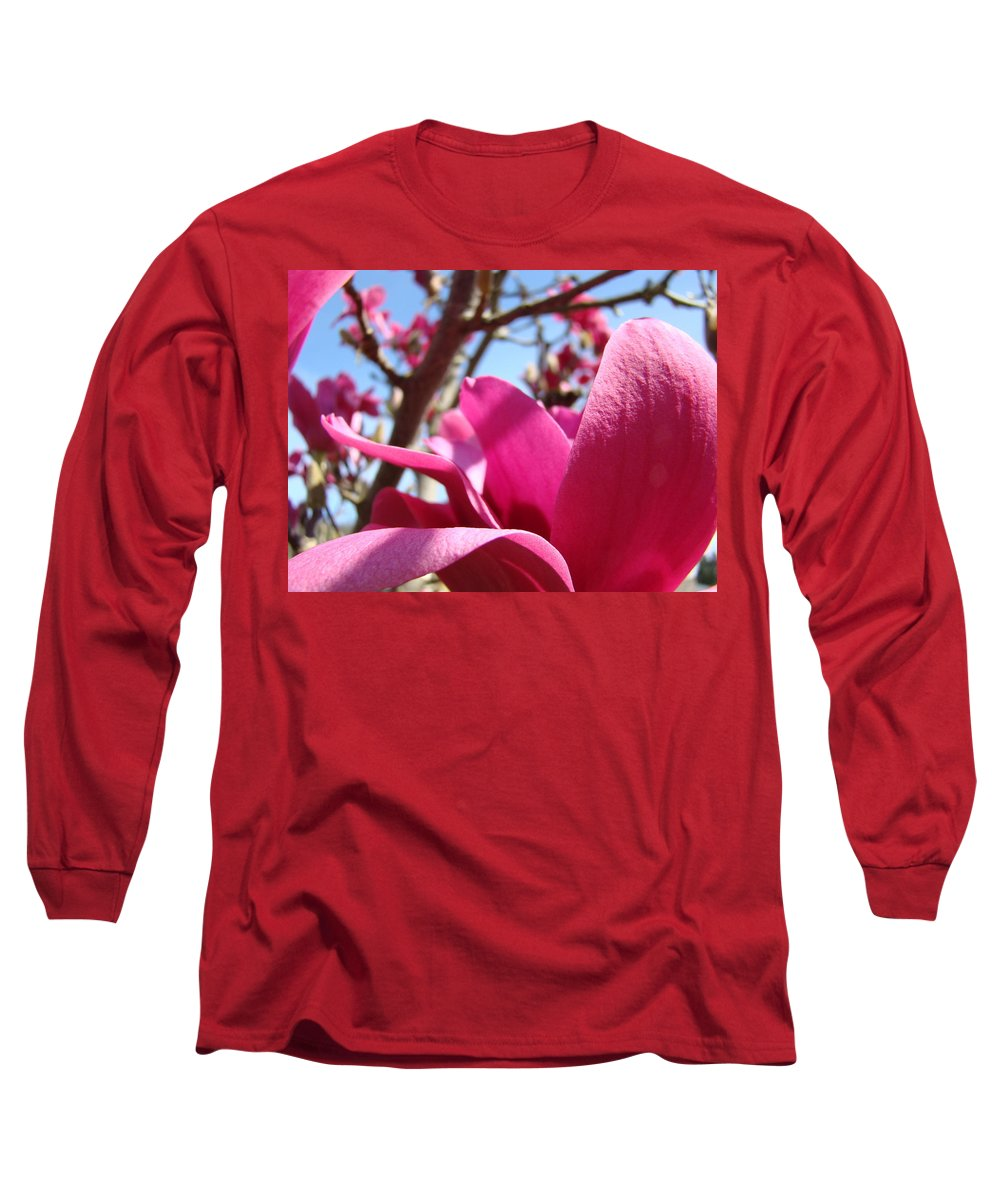Magnolia Long Sleeve T-Shirt featuring the photograph Magnolia Tree Pink Magnoli Flowers Artwork Spring by Baslee Troutman