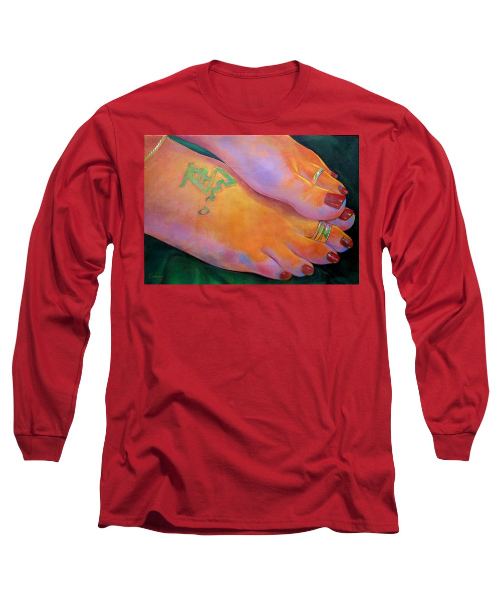 Toes Long Sleeve T-Shirt featuring the painting Mandy Toes Orange by Jerrold Carton