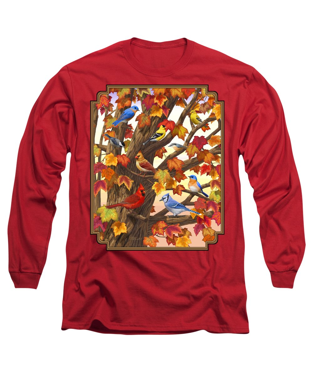 Bird Long Sleeve T-Shirt featuring the painting Maple Tree Marvel - Bird Painting by Crista Forest