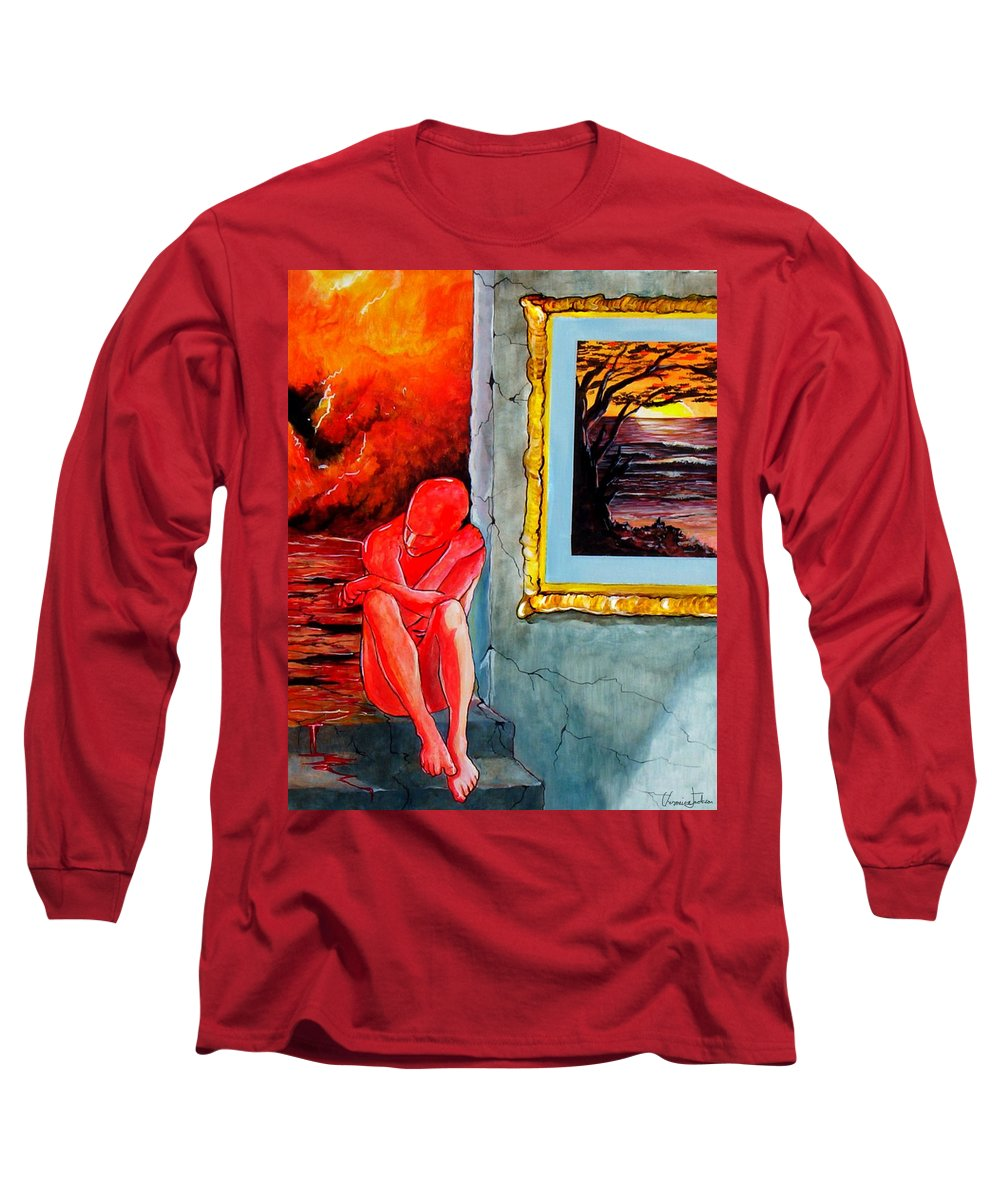 War Sunset Bombs Explosion Wait Loneliness Frustration Long Sleeve T-Shirt featuring the painting Memoirs Of A Bloody Sunset by Veronica Jackson