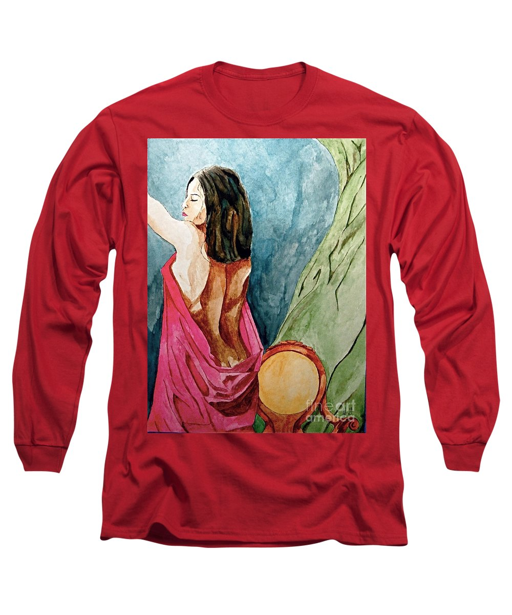 Nudes Women Long Sleeve T-Shirt featuring the painting Morning Light by Herschel Fall