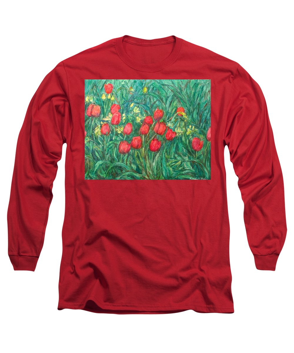 Kendall Kessler Long Sleeve T-Shirt featuring the painting Mostly Tulips by Kendall Kessler