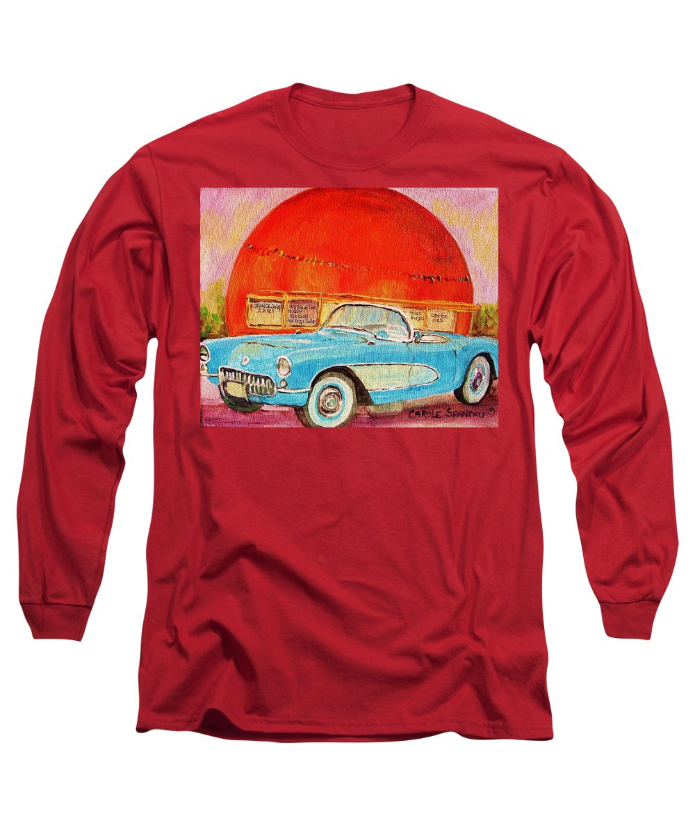 Montreal Long Sleeve T-Shirt featuring the painting My Blue Corvette At The Orange Julep by Carole Spandau