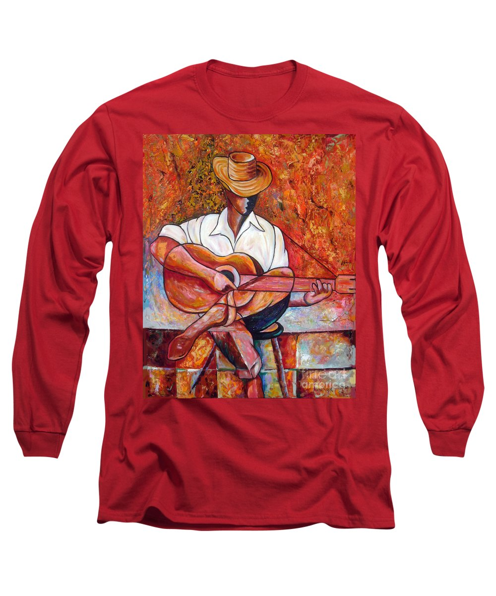 Cuba Art Long Sleeve T-Shirt featuring the painting My Guitar by Jose Manuel Abraham