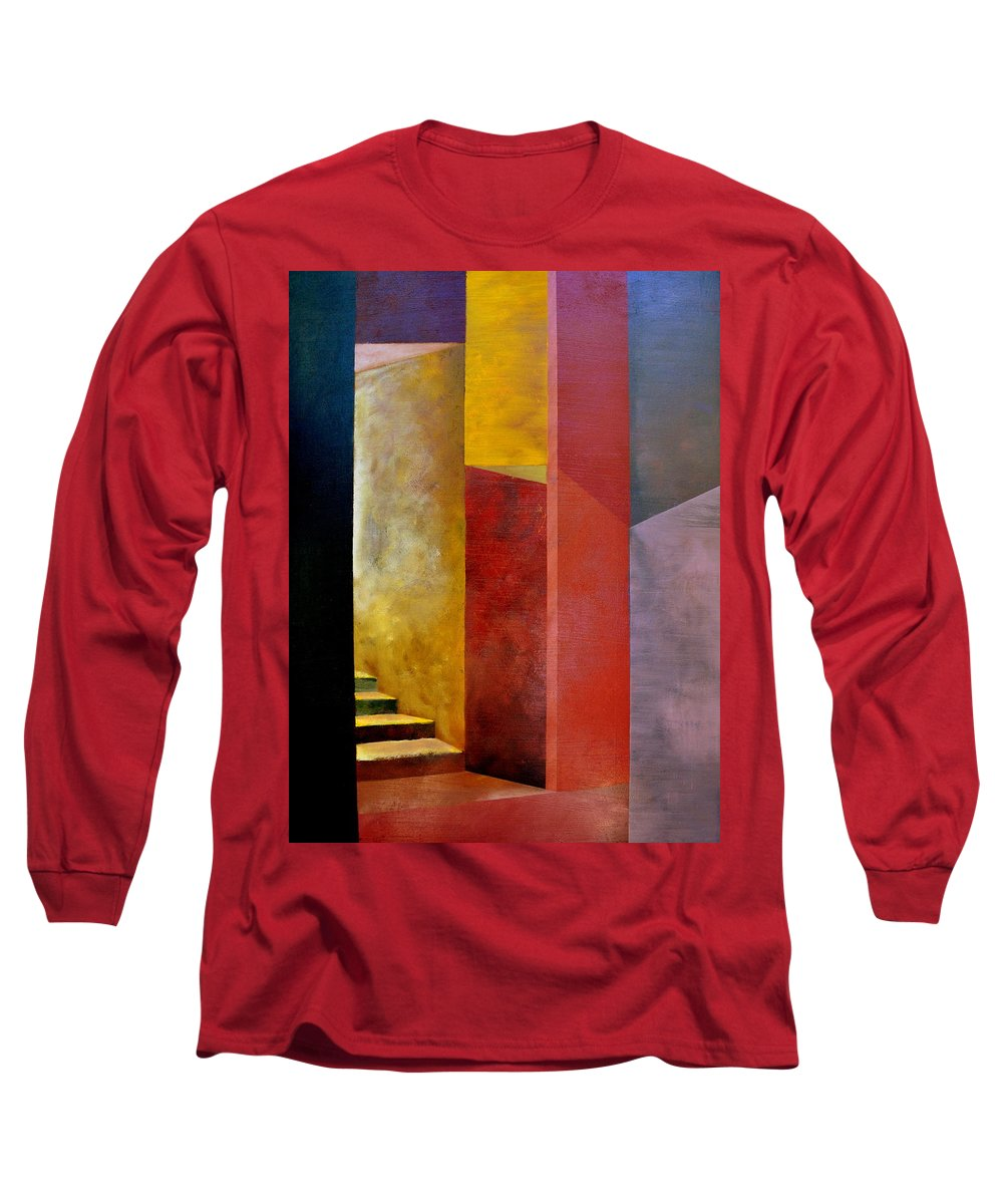 Gold Long Sleeve T-Shirt featuring the painting Mystery Stairway by Michelle Calkins