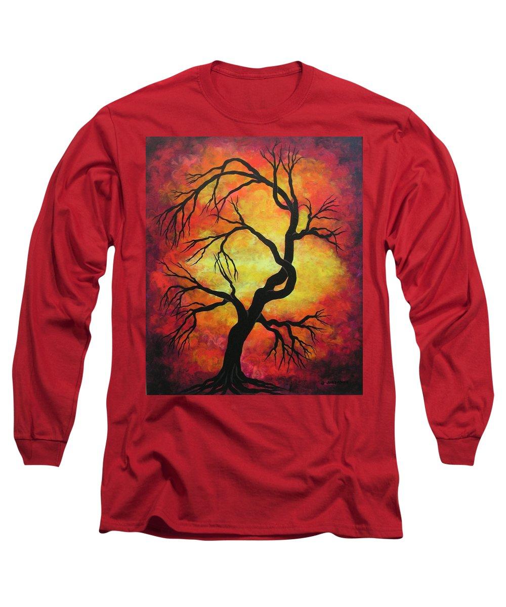 Acrylic Long Sleeve T-Shirt featuring the painting Mystic Firestorm by Jordanka Yaretz