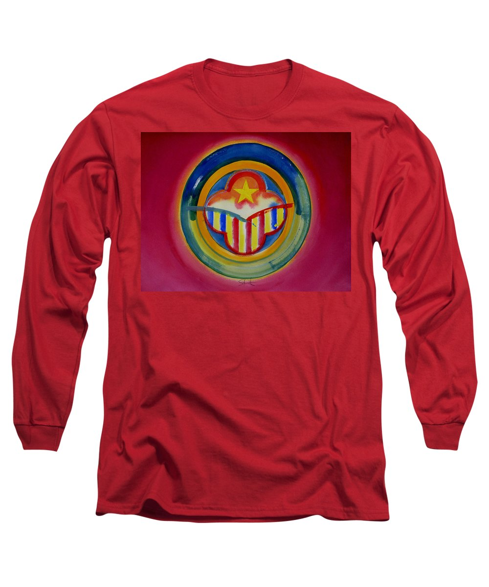 Button Long Sleeve T-Shirt featuring the painting Native American by Charles Stuart
