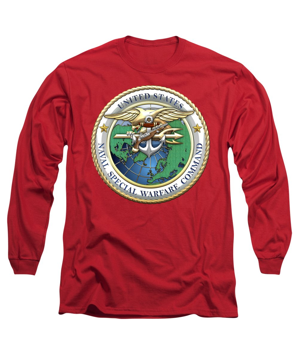 'military Insignia & Heraldry - Nswc' Collection By Serge Averbukh Long Sleeve T-Shirt featuring the digital art Naval Special Warfare Command - N S W C - Emblem On Red by Serge Averbukh