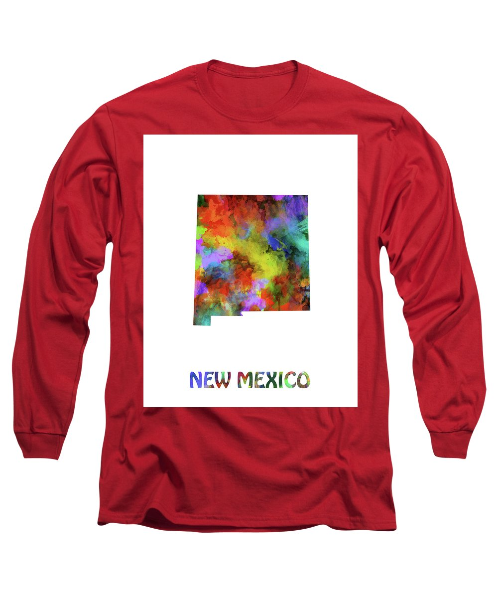 New Mexico Long Sleeve T-Shirt featuring the digital art New Mexico Map Watercolor by Bekim M