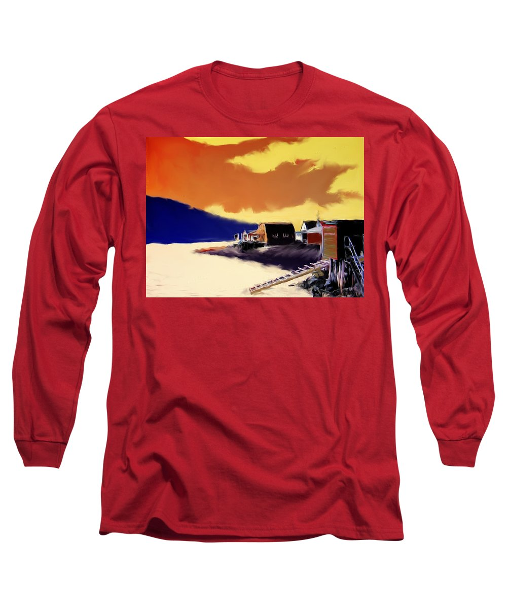 Newfoundland Long Sleeve T-Shirt featuring the photograph Newfoundland Fishing Shacks by Ian MacDonald