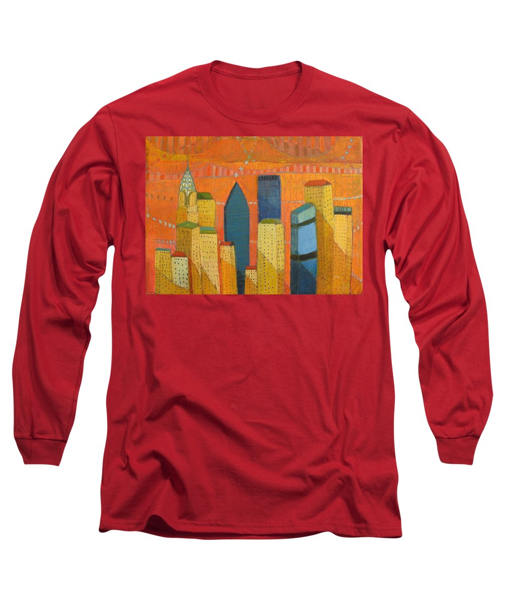 Abstract Cityscape Long Sleeve T-Shirt featuring the painting Nyc With Chrysler by Habib Ayat