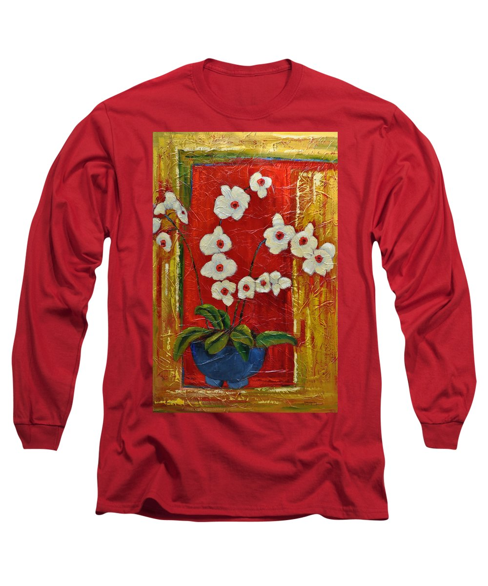 Orchids Long Sleeve T-Shirt featuring the painting Ode To Orchids by Ginger Concepcion