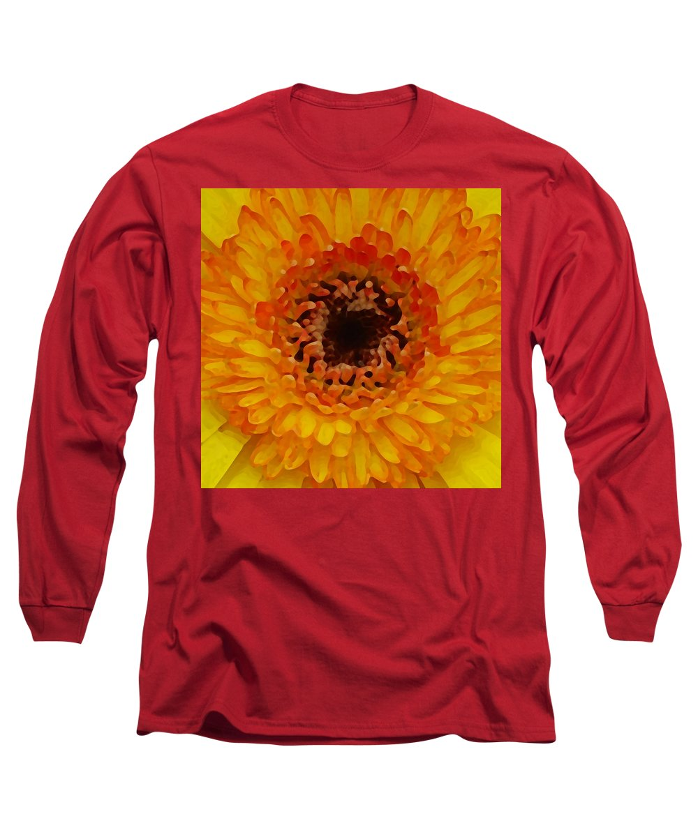 Daisy Long Sleeve T-Shirt featuring the painting Orange And Black Gerber Center by Amy Vangsgard