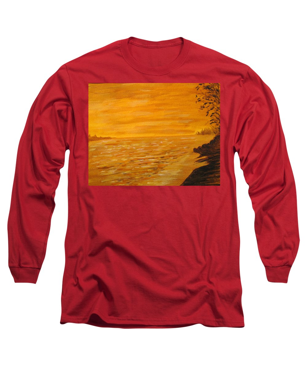 Ocean Long Sleeve T-Shirt featuring the painting Orange Beach by Ian MacDonald