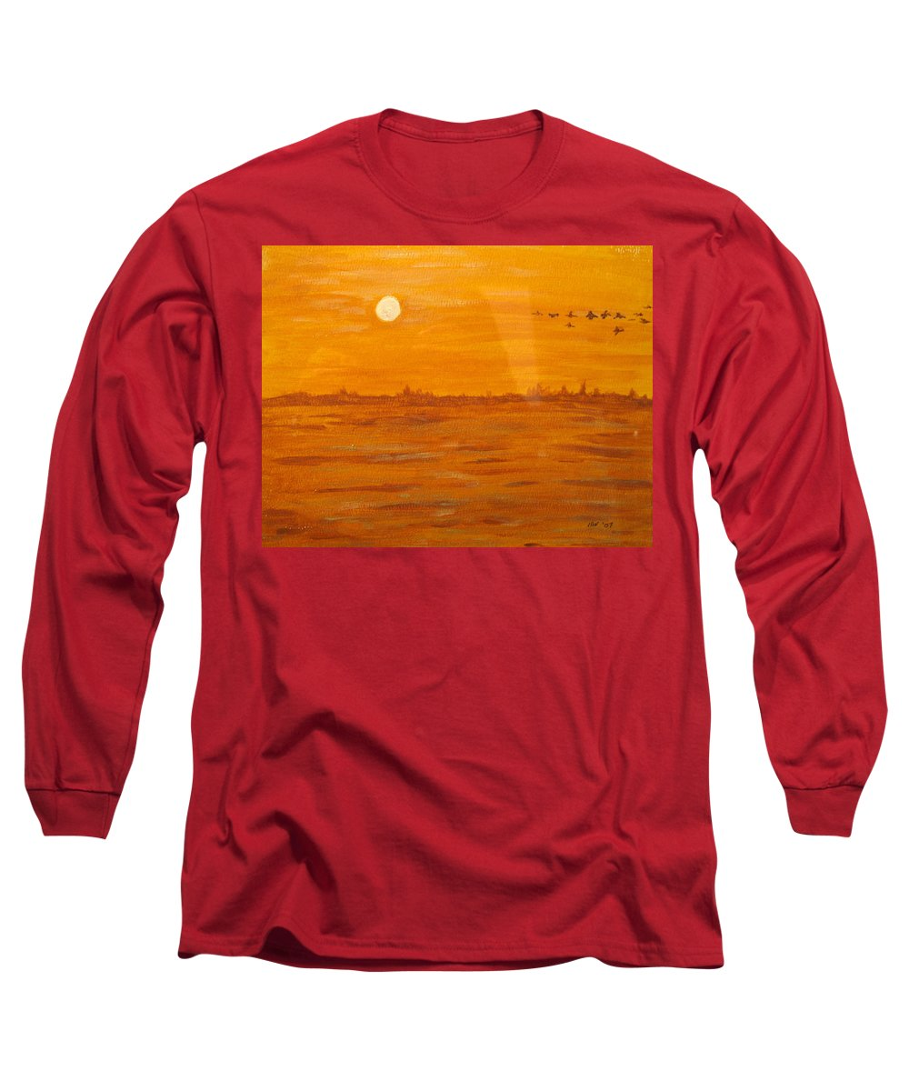 Orange Long Sleeve T-Shirt featuring the painting Orange Ocean by Ian MacDonald