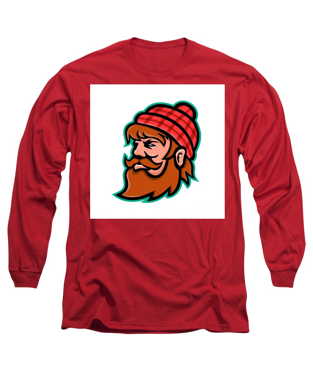 Mascot Long Sleeve T-Shirt featuring the digital art Paul Bunyan Lumberjack Mascot by Aloysius Patrimonio