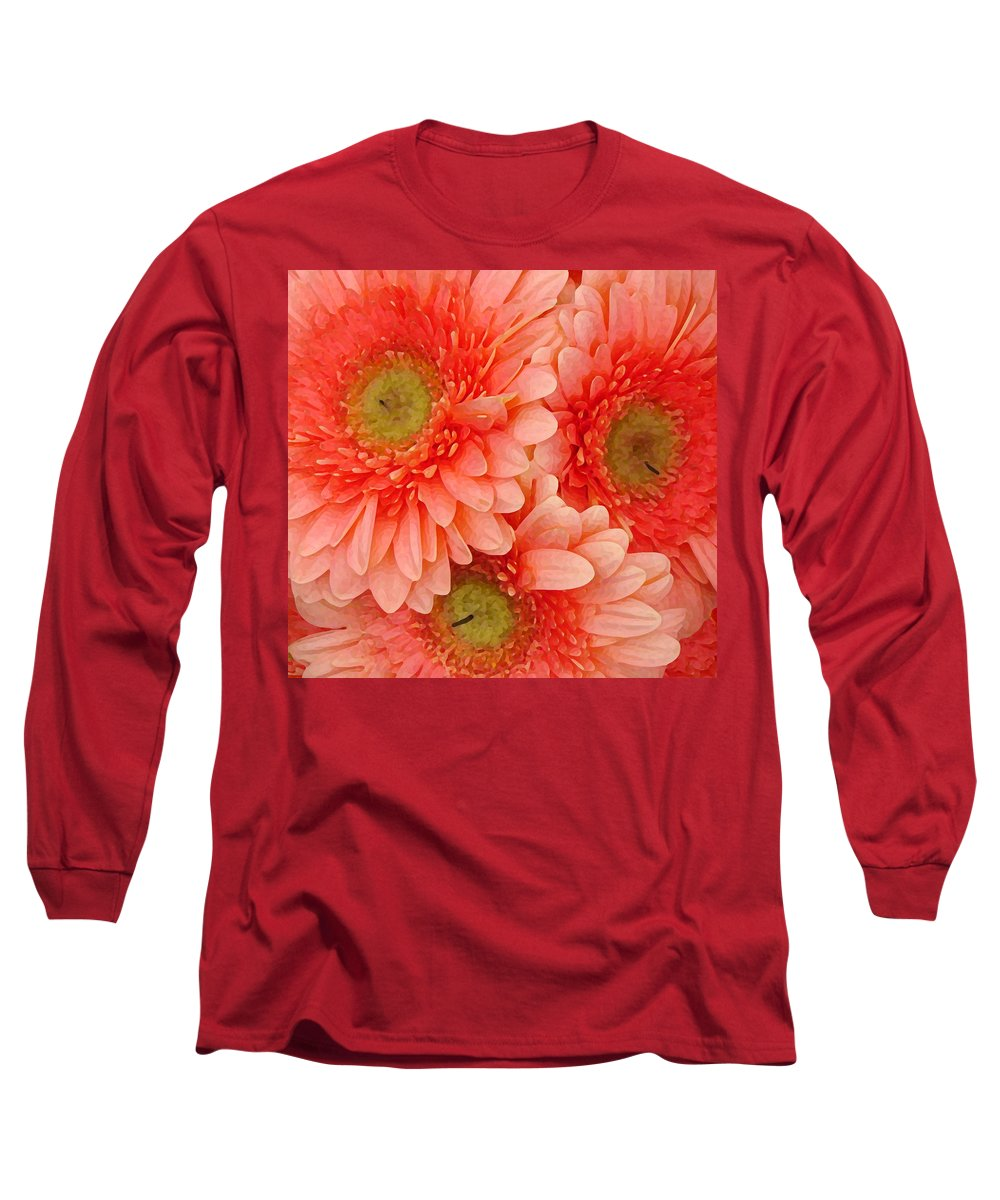 Floral Long Sleeve T-Shirt featuring the painting Peach Gerbers by Amy Vangsgard