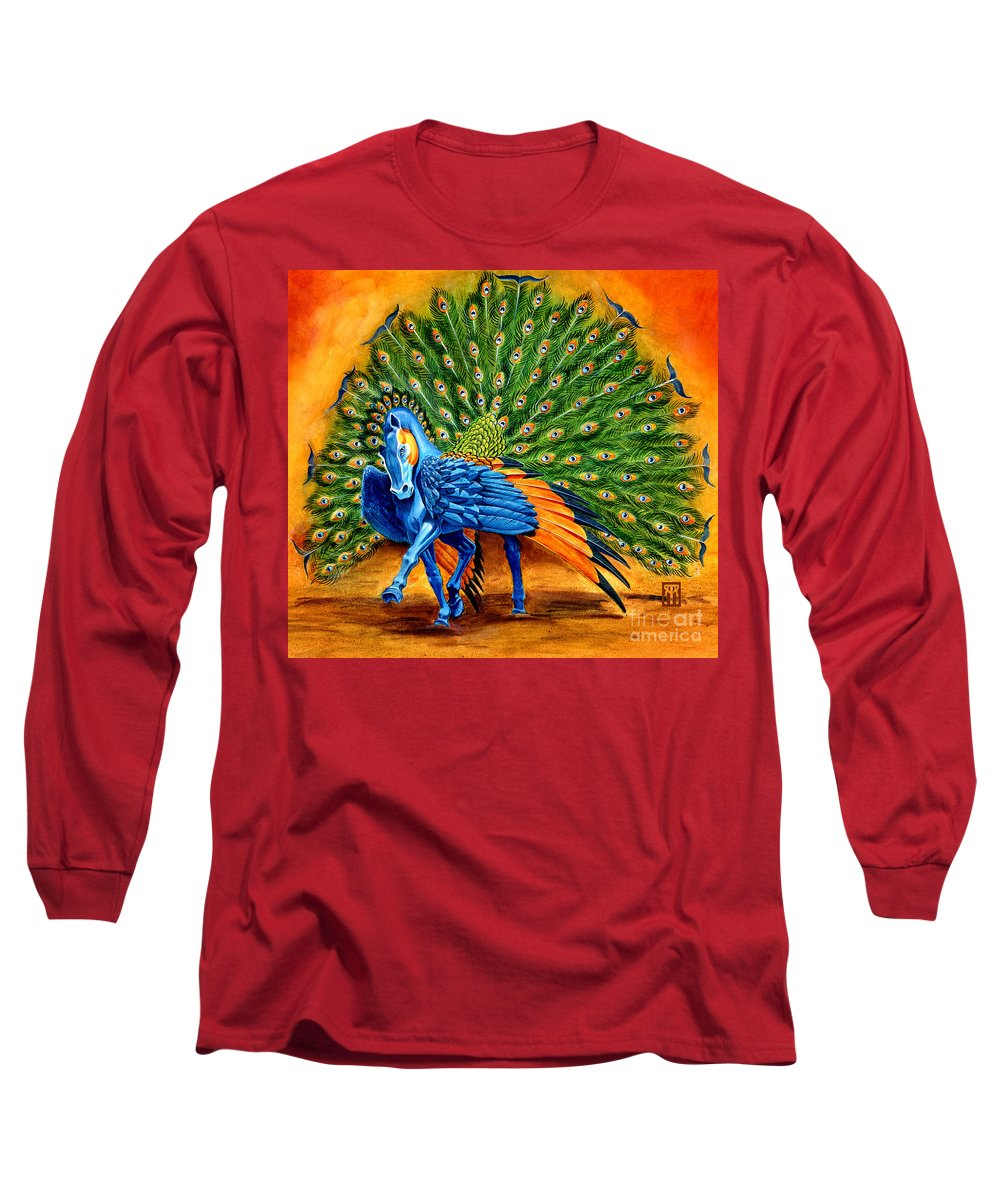 Horse Long Sleeve T-Shirt featuring the painting Peacock Pegasus by Melissa A Benson