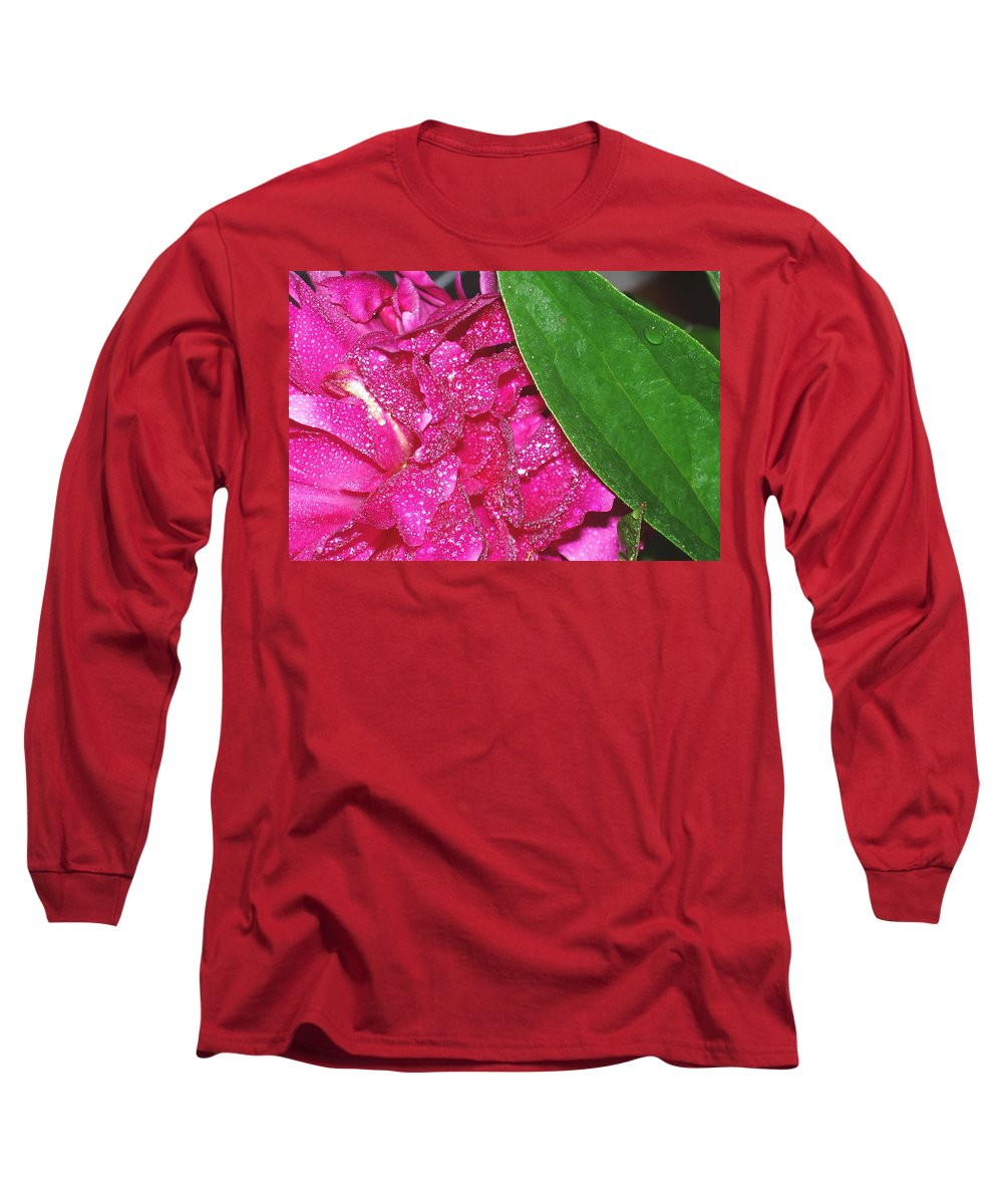 Peony Long Sleeve T-Shirt featuring the photograph Peony And Leaf by Nancy Mueller