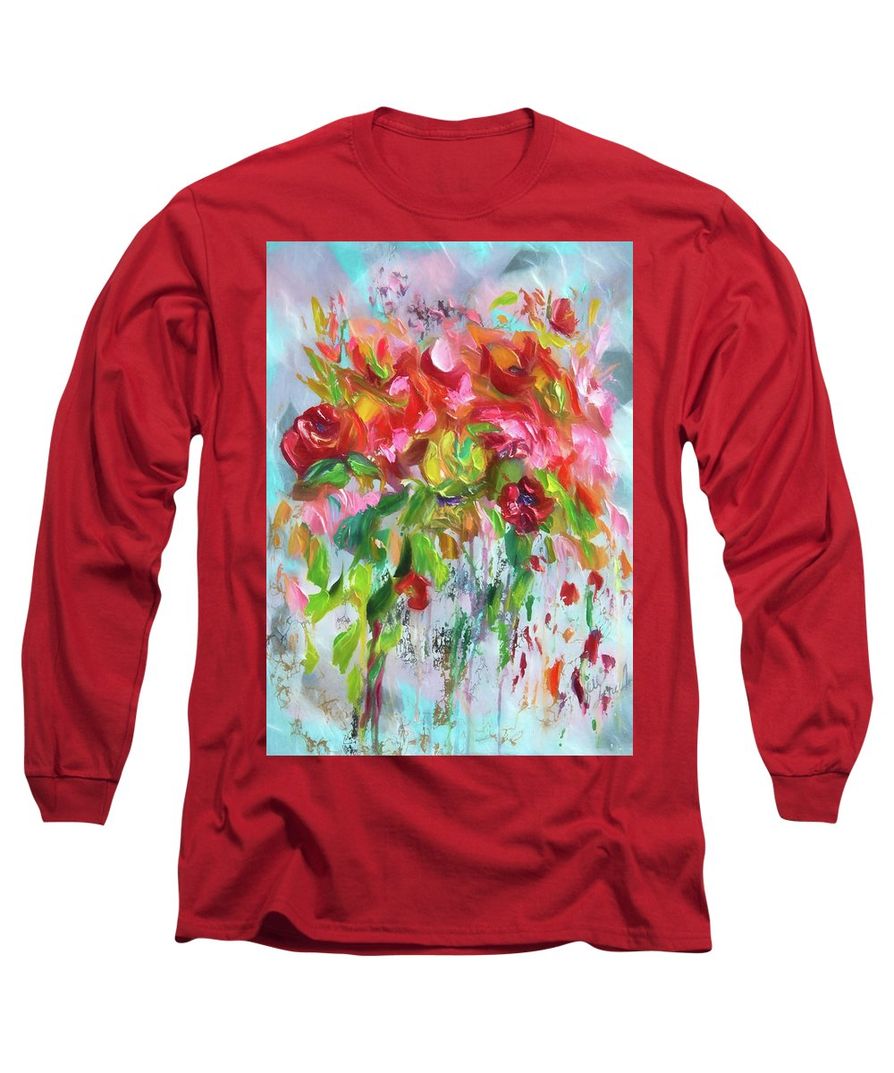 Modern And Abstract Pastel Flowers Long Sleeve T-Shirt featuring the digital art Pink Abstract - II by OLena Art - Lena Owens