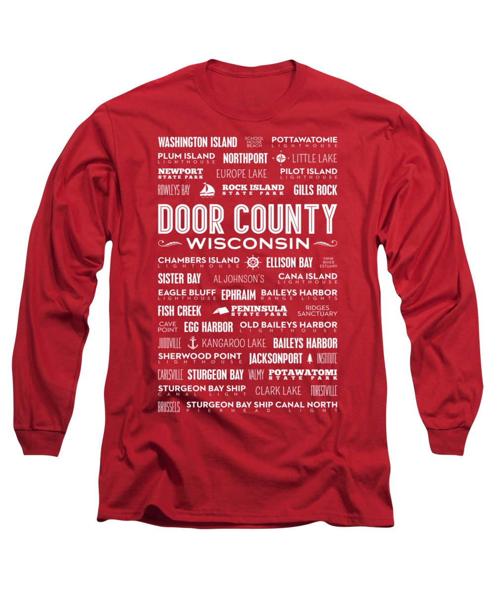 Door County Long Sleeve T-Shirt featuring the digital art Places Of Door County On Red by Christopher Arndt