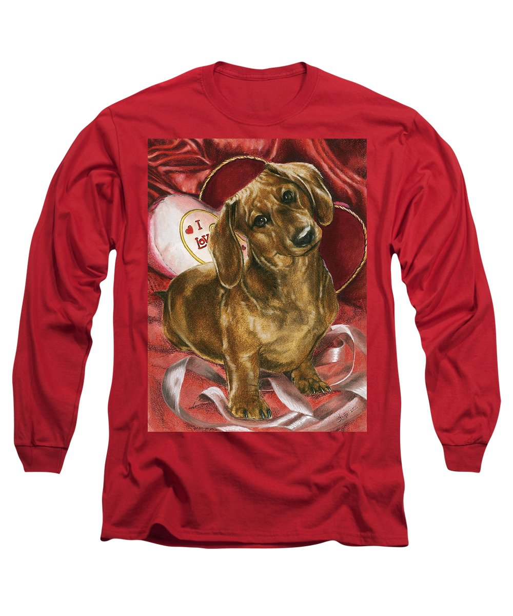 Dogs Long Sleeve T-Shirt featuring the mixed media Please Be Mine by Barbara Keith